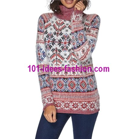 Sweater soft touch print 101 idées 8210W New winter collection 2017
