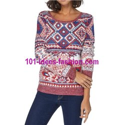 Pullover Soft-Touch print bunt 101 idées 8213W Neue Winter Kollektion