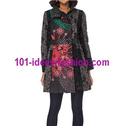 coat print ethnic label 101 IDEES 8466 store uk
