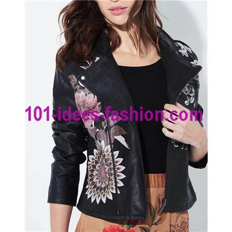 jacket Faux leather perfecto ethnic label 101 IDEES 1932W store uk