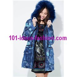 Cotton coat with embroidered flowers fur hood brand 101 idees 3808W