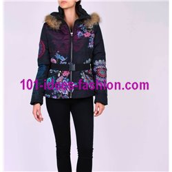 coat short quilted print ethnic fur hood brand 101 idees 1803W
