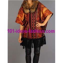 ethnic printed poncho fringes and fur brand 101 idees 150P