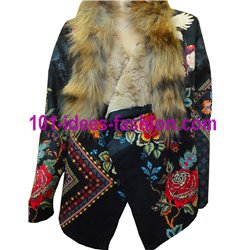 ethnic printed poncho suede raccoon fur brand 101 idees 3149P