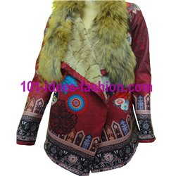 ethnic printed poncho suede raccoon fur brand 101 idees 3162P