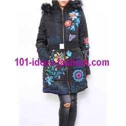 coat long quilted plus size floral print fur hood brand 101 idees 1826WLAR