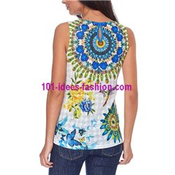 T-shirt top summer floral ethnic 101 idées 1652Y clothes for women