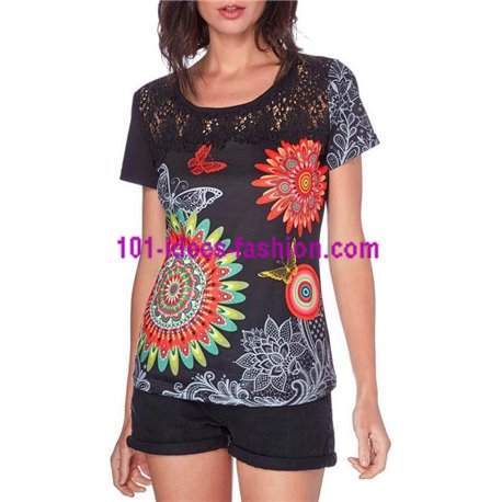 T-shirt top lace summer floral ethnic 101 idées 440Y clothes for women