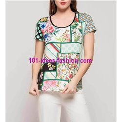 T-shirt top summer floral 101 idées 4112Y womens clothes sale