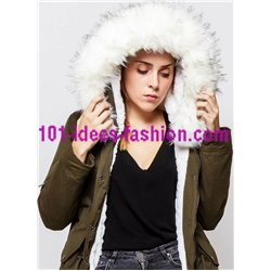 boho chic Parka khaki with hood and removable fur G20WV clothes for