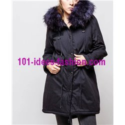 boho chic Parka Navy blue with hood and removable fur G20BL clothes