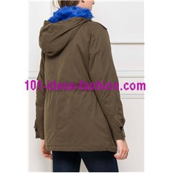 boho chic Parka khaki with hood 418AZ clothes for women