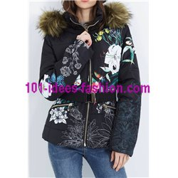 coat short quilted print floral fur hood brand 101 idees 1816Z