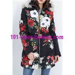 coat long quilted print floral fur hood brand 101 idees 1825Z clothes