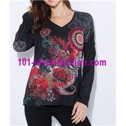 T-shirt top suede ethnic winter plus size 101 idées 03111LZ clothes