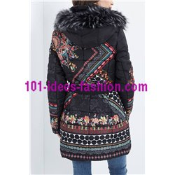 coat long quilted plus size floral print fur hood brand 101 idees