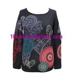 T-shirt top winter ethnic 101 idées 2121W clothes for women
