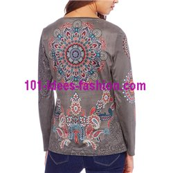 T-shirt top suede ethnic winter 101 idées 0373W clothes for women
