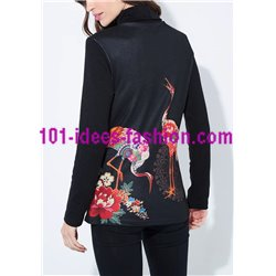 boho chic T-shirt top winter floral ethnic 101 idées 2128Z clothes