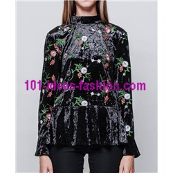 T-shirt top velvet winter floral 101 idées 3707Z clothes for women