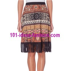 boho chic skirt suede print ethnic fringes 101 idées 273MZ clothes