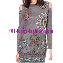kleider tuniken Wildleder optik ethno 101 idées 03102W boho hippie fashion