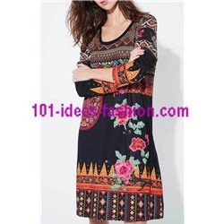 dress ethnic floral winter 101 idées 2141Z