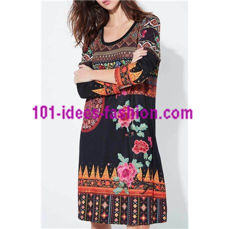 boho chic dress ethnic floral winter 101 idées 2141Z clothes for women