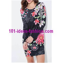 dress tunic suede ethnic floral 101 idées 3136Z