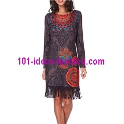 dress print ethnic tribal fringes 101 idées 195Z