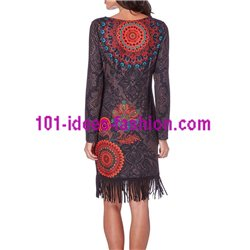 boho chic dress print ethnic tribal fringes 101 idées 195Z clothes