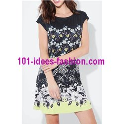 dress tunic suede floral 101 idées 3134Z