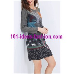 dress tunic suede ethnic floral 101 idées 3108Z