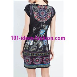 dress tunic velvet ethnic floral winter 101 idées 2008Z clothes for