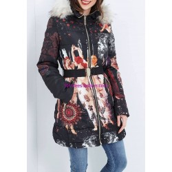 coat long quilted black print fur hood brand 101 idees 1824W desigual