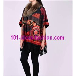 ethnic printed poncho fringes and fur brand 101 idees 2114P clothes