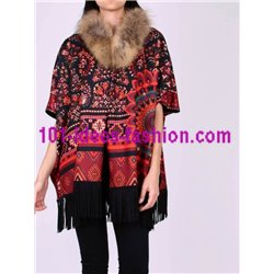 buy now ethnic printed poncho fringes and fur brand 101 idees 153P