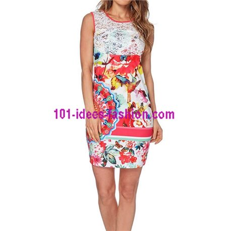boho chic dress tunic lace summer ethnic floral 101 idées 527VRA