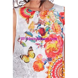boho chic T-shirt top summer floral ethnic 101 idées 1653Y clothes