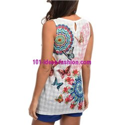 T-shirt top summer butterflies ethnic 101 idées 1664Y
