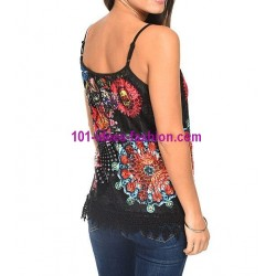 boho chic T-shirt top lace summer floral ethnic 101 idées 336P