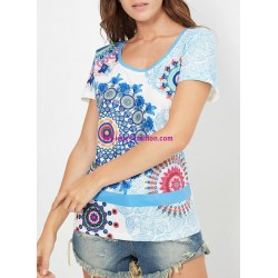 buy now T-shirt print ethnic 101 idées 405P clothes for women