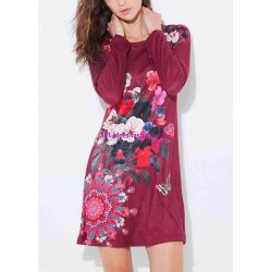 dress tunic suede ethnic floral 101 idées 3114Z