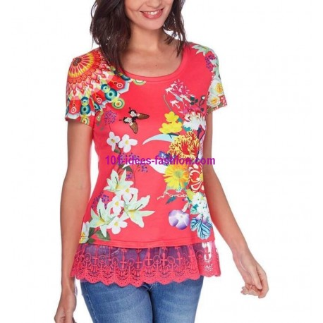buy now T-shirt top lace summer floral ethnic 101 idées 438P clothes