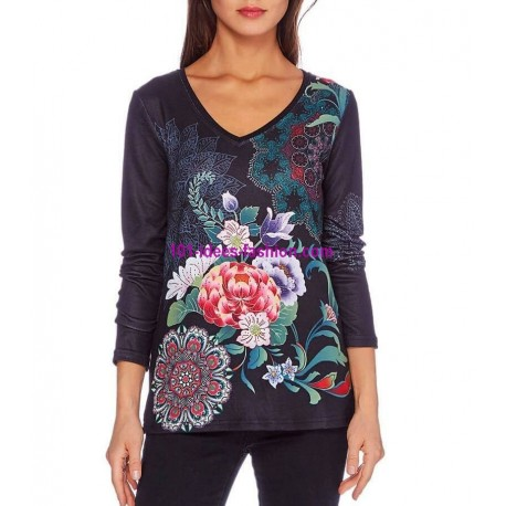 buy now T-shirt top winter floral ethnic 101 idées 2106W clothes for