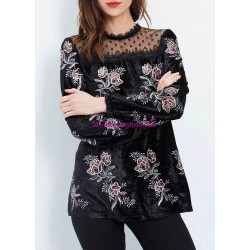 buy now T-shirt top velvet winter floral 101 idées 3710Z clothes for