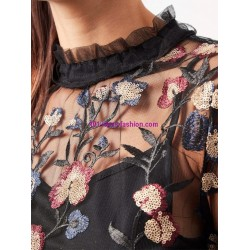 buy now T-shirt top lace winter embroidered 101 idées 3910Z clothes