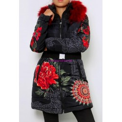 buy coat long quilted floral print fur hood brand 101 idees 1810W