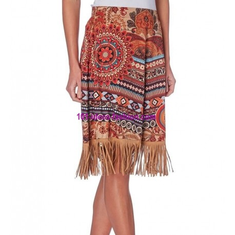 skirt suede print fringes 101 idées 274CW shop europe