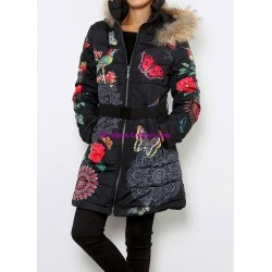 coat long quilted butterflies print fur hood brand 101 idees 1811W